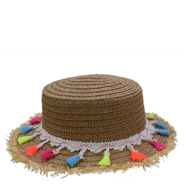"Kids Straw Hat ""Tassels"" Summer Hat Beach Fringe Protection"