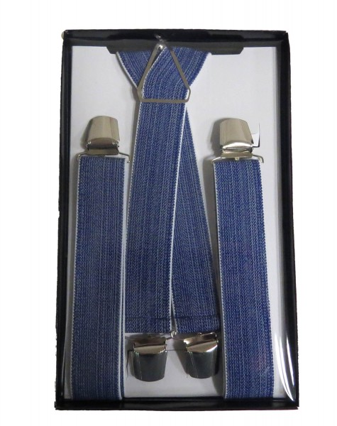 "Suspenders ""Urban"" 4 Clips Jeans Design Blue Grey Giftbox"