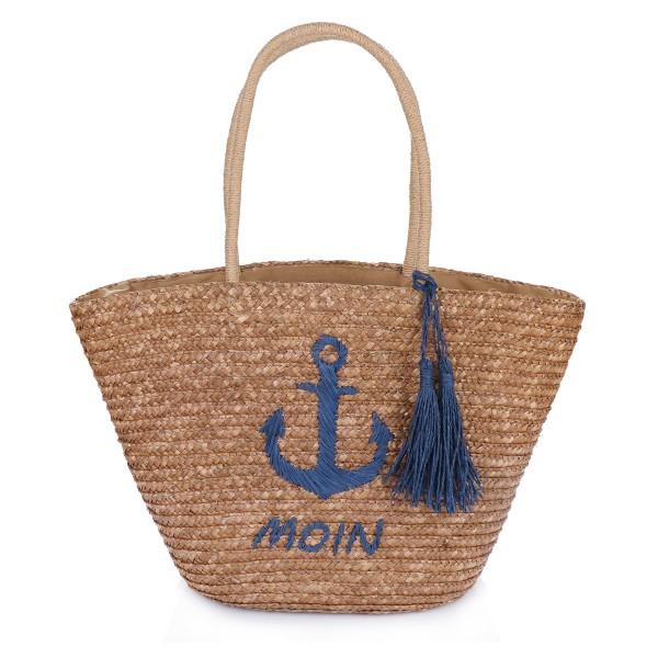 """Assortment: 10 pieces Basket Bag """"Moin"""" Embroidery Tassel Shopper Summer"""