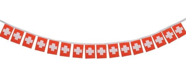 """Fahnenkette """"Schweiz"""" Fußball EM Girlande 16 Fähnchen 4,5m Deko"""