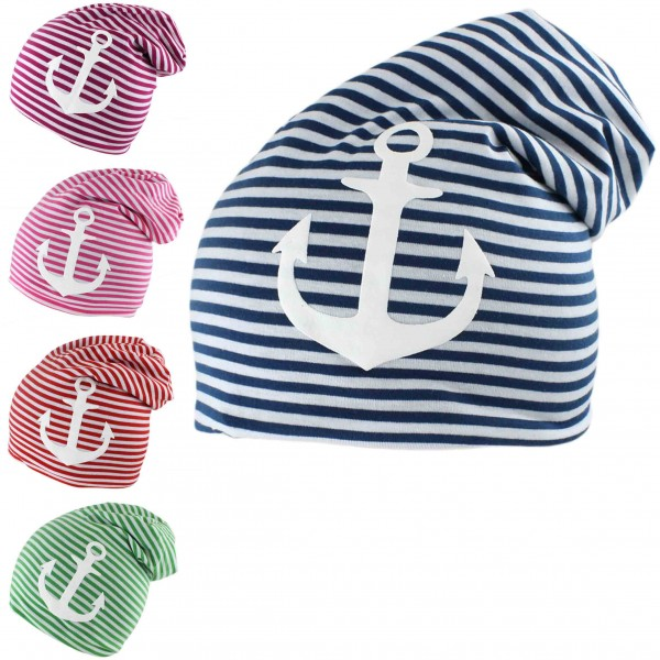 "Assortment: 40 pcs Kids Fleece Beanie ""Anchor"" Stripes Winter Cap"