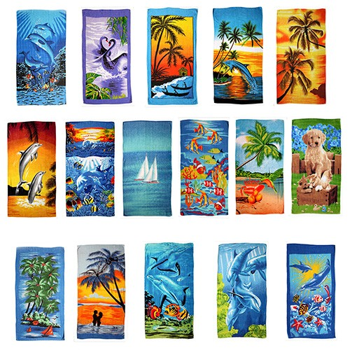 Sale: 12 Beach Towels Cotton with different motives