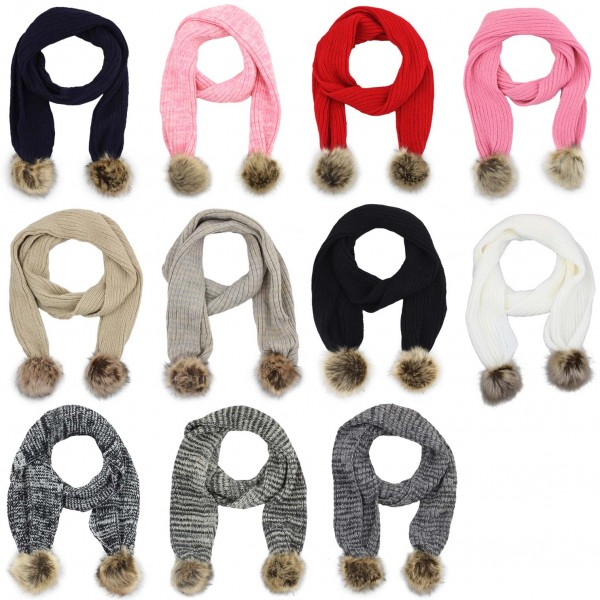 Assortment: 10 pcs Scarf Faux Fur Bobble Polyacrylic Winter Melange