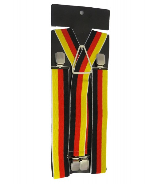 "Suspenders ""Retro"" 4 Clips Premium Skull Germany Flag Party"