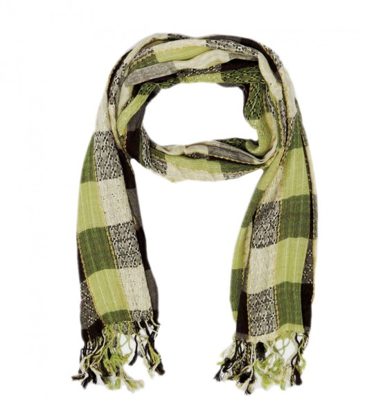 """Scarf Long """"Claire"""" Fringes Checked"""