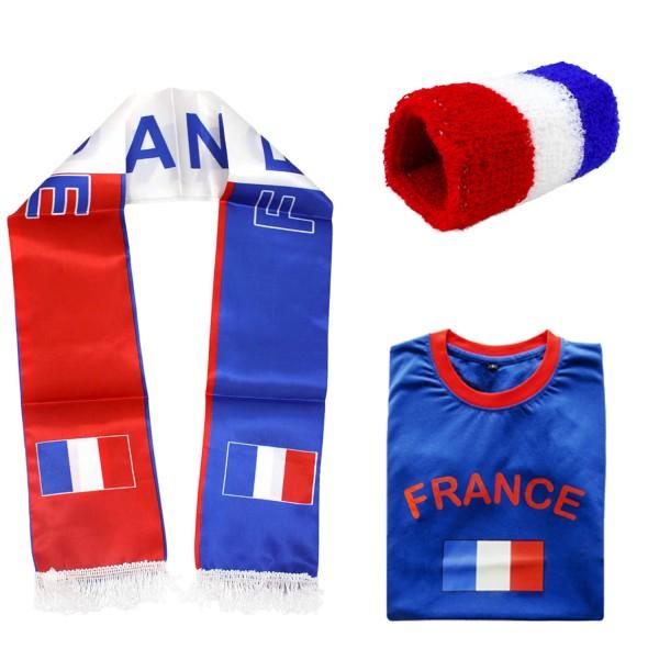 "Fan Package ""France"" Worldcup Football Scarf Shirt Sweatband SET-7"