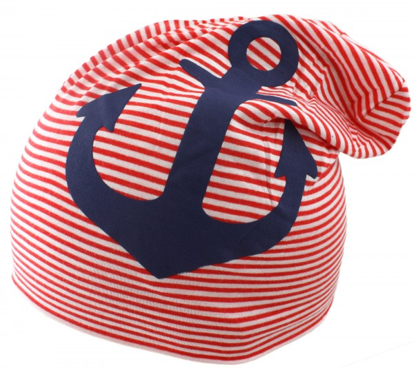 "Beanie Slouch ""Maritime Anchor"" Baby Stripes"