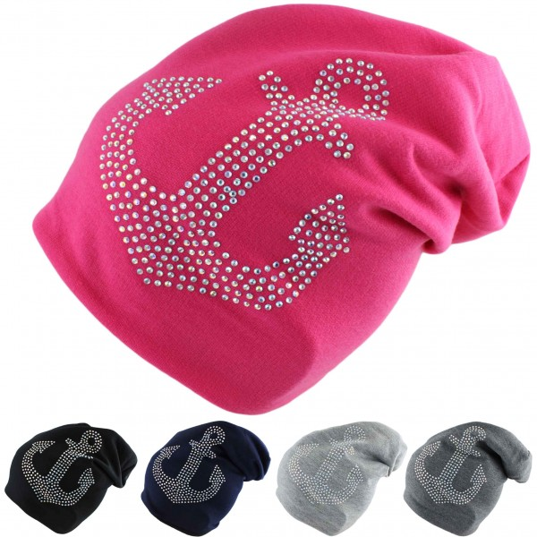 "Aktionssortiment: 20 Stück Kinder Fleece Beanie ""Stern und Anker Strass"" Steine Winter"