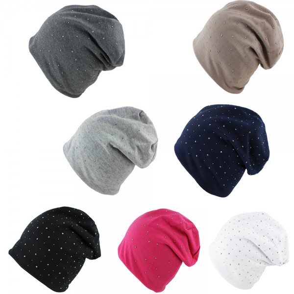 "Assortment: 20 pcs Fleece Beanie ""Anchor Rhinestones"" Winter Unisex Jersey"