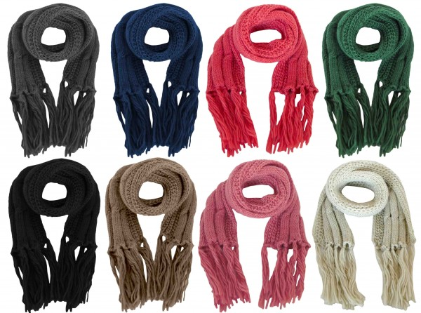 Assortment: 10 pcs Scarf Polyacrylic Cable Pattern Knitted Winter