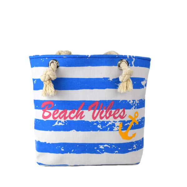 "XS Beach bag ""Beach Vibes"" Vintage girl stripes shopper anchor"