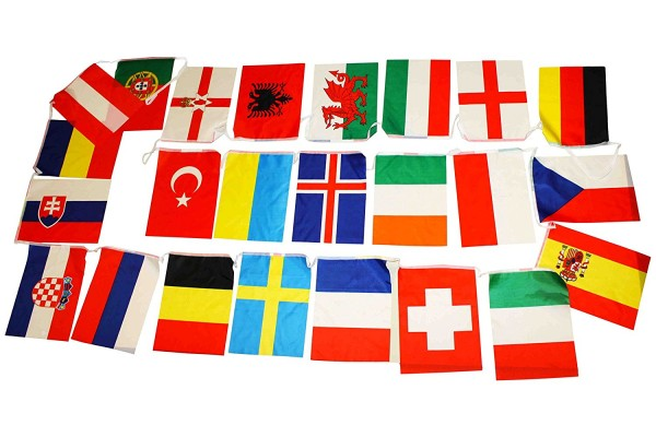 "Flag Garland ""Europe"" 24 Countries Fan 9 Meter Football"
