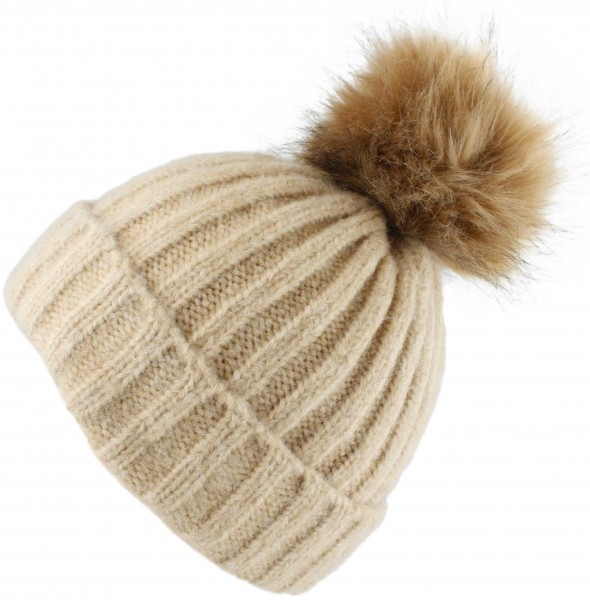 Bobble Hat Knitted Cap Winter Button Closing Wool Melanche Faux Fur