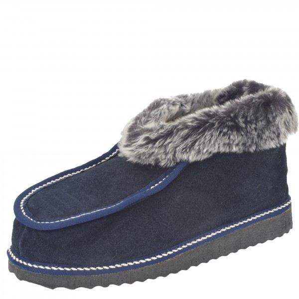 "Indoor Slipper ""Antarktis"" Real Sheep Skin Genuine Leather EVA Sole Lamb Fur"