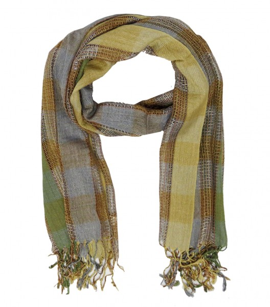 "Scarf Long ""Debbie"" Fringes Checked"