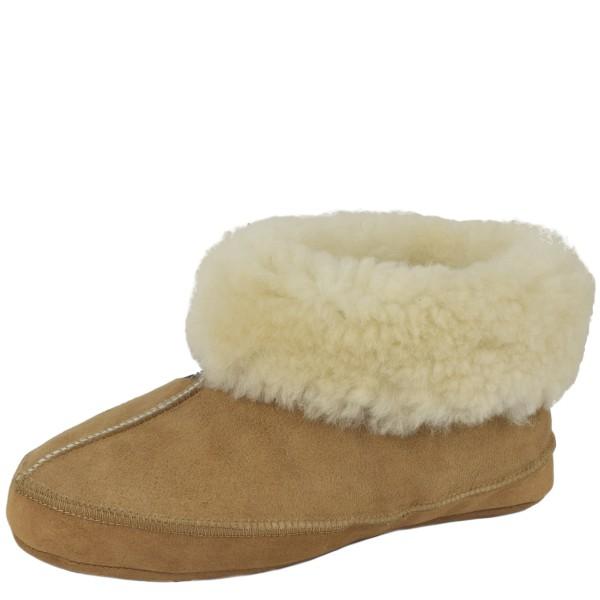 "Beige Indoor Slipper ""Unique"" Real Sheep Skin Genuine Leather Lamb Fur"