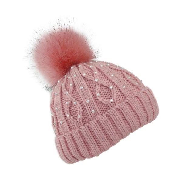 Winter Beanie Pearls Cable Knit XL Pompom Teddyfur