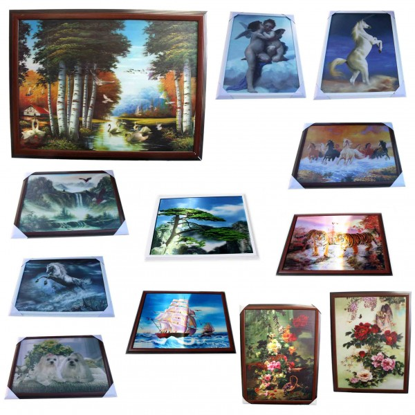 "Assortment: 10 pcs 3D Pictures ""Nature and Animals"" Wall Decoration Photos"