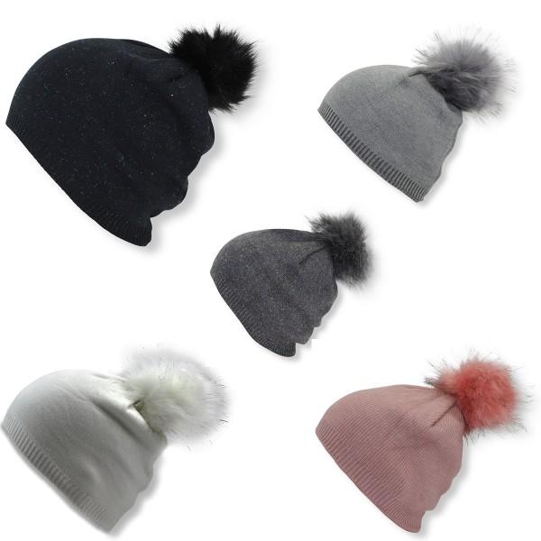 Assortment: 20 pcs Kids Winter Beanie Hat Glittering Fiber Faux Fur Pompom