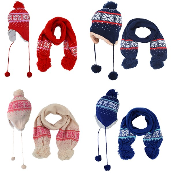 Assortment: 20x SET Kids Scarf and hat Bobble Teddy Fur Winter