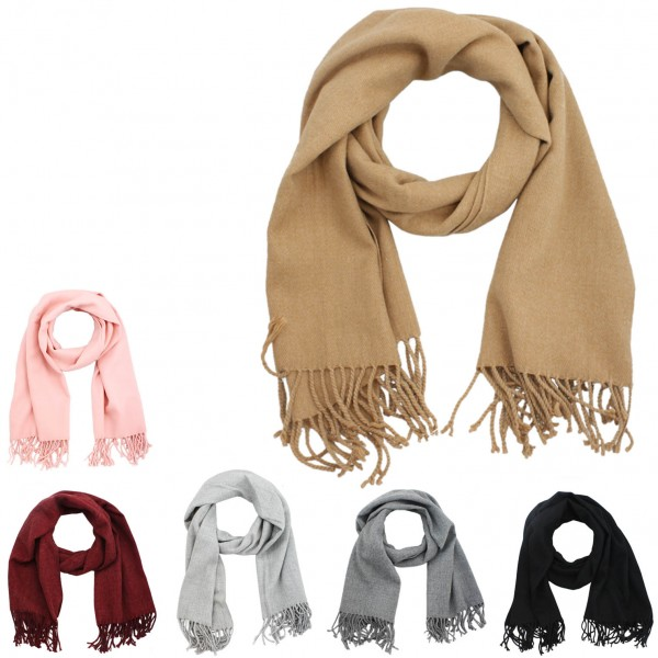 Assortment: 10 pcs Scarf Classic Wool Polyacrylic Winter Fringes