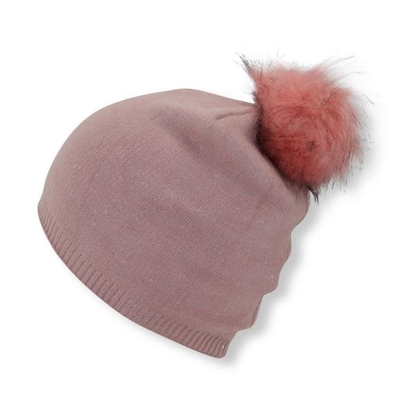 Winter Beanie Mütze mit Glitzerfasern und Kunstfell Bommel