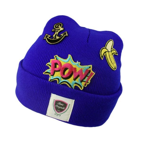 "Knitted Hat ""Sonia Originelli"" Patches Logo Beanie Unisex"