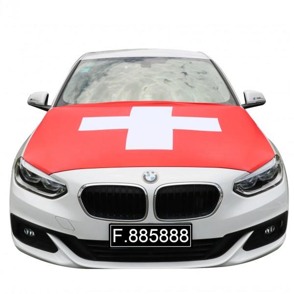 """EM Fußball """"Schweiz"""" Motorhauben Überzieher Auto Flagge"""