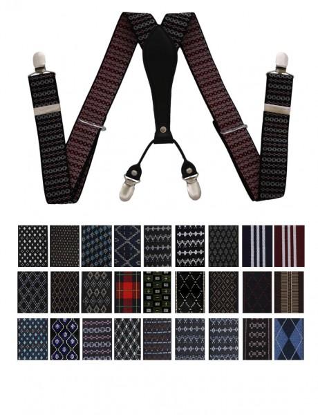 """Assortment: 20 pieces Suspenders Men """"Premium"""" Pattern 4 Clips Giftbox"""