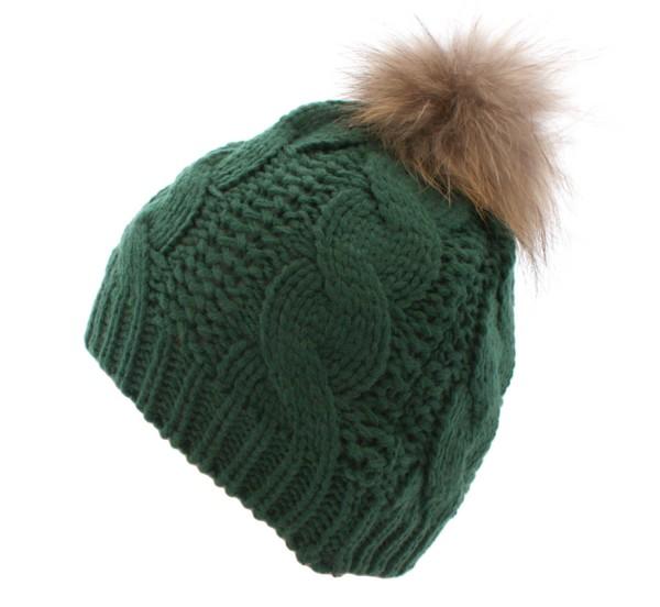 Aktionssortiment: 10 Stück Bommelmütze Echtfell Waschbär Bommel Winter Strick Wolle
