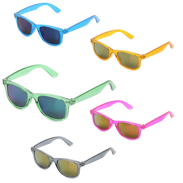 "Aktionssortiment: 12 Kinder Sonnenbrillen ""Kids Style"" Verspiegelt Brille Transparent"