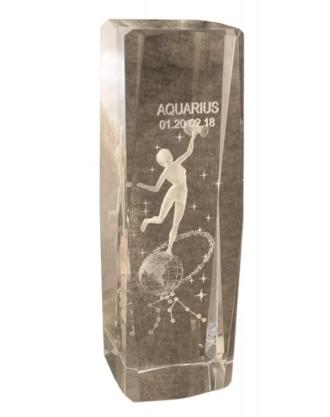 """Kristallwürfel """"Sternzeichen"""" 3D Figur Deko Glas"""