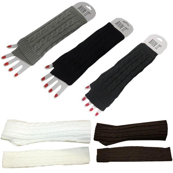 Aktionssortiment: 20 Stück Armstulpe Handschuhe Strick Uni Gemütlich Lang