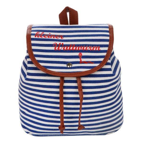 """XS Rucksack """"kleiner Wattwurm"""" Streifen Maritim Daypack"""