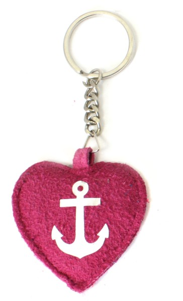 "Key Chain ""Anchor in Heart"" Keyring Leather"