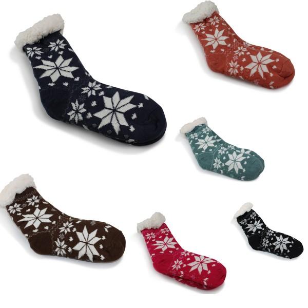 "12 Pairs Sortiment Socks ""Snowflake"" Teddy Fur Anti Slide Winter"