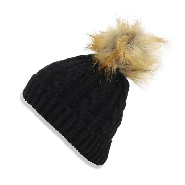 079b4fdb5d2 Kids Winter Beanie Hat Knit Faux Fur Pompom