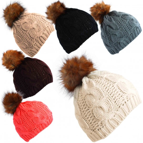 Assortment: 20 pieces Knitted Hat Winter Faux Fur Bobble Uni