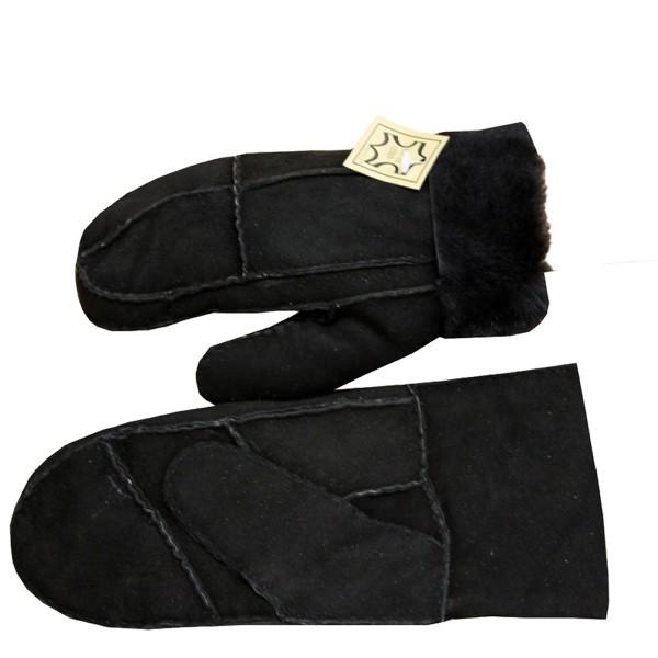 Mitten Leather Lambfur Patchwork Gloves Unisex