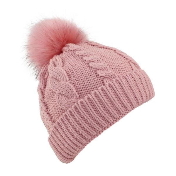 Winter Beanie Cable Knit XL Pompom Teddyfur