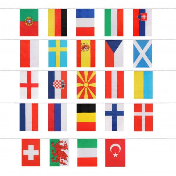 "Fahnenkette ""EM-21"" Girlande 15 Meter 24 Länder Fan Fußball"