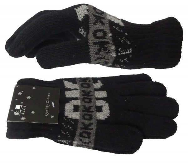Assortment 12 Pairs Knitted Gloves Statement OK Winter Unisex