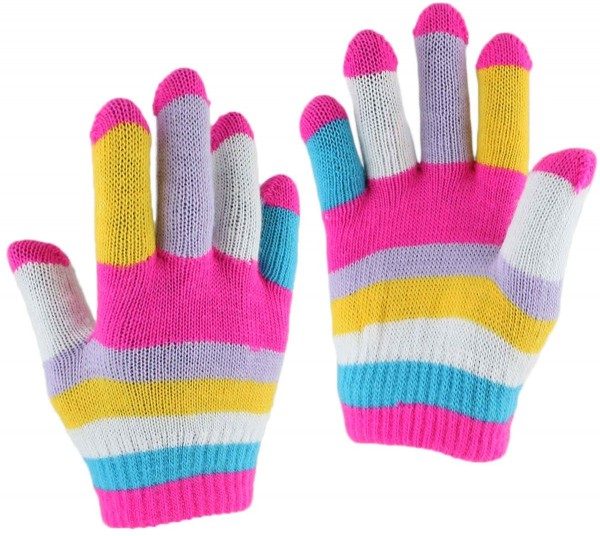 """12 Pieces Kids Adults Knitted Gloves """"Multi Colored"""" Stripes"""