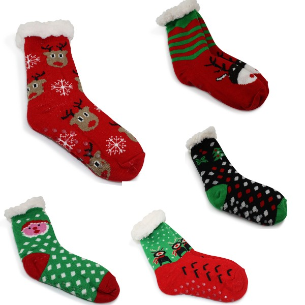 "12 Pairs Sortiment Socks ""Christmas"" Teddy Fur Anti Slide Winter"