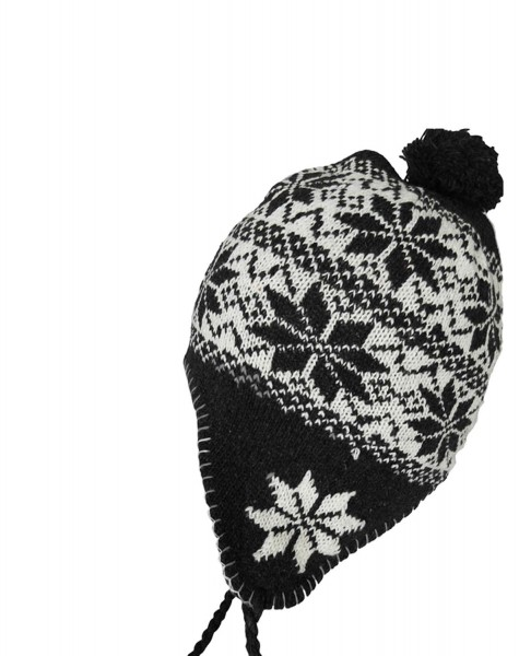"""Knitted hat """"Flower"""" Winter Hat lining"""