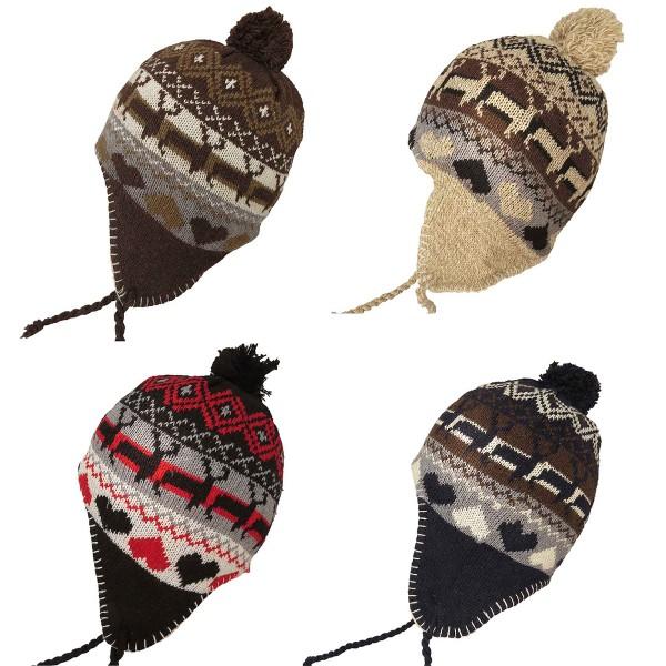 """Assortment: 50 pcs Knitted Cap """"Elk"""" Winter Heart Hat lining"""