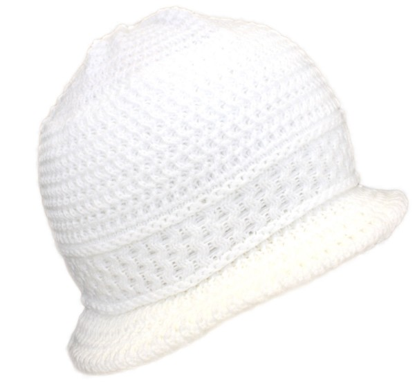 Knitted Hat Wool Winter Women White