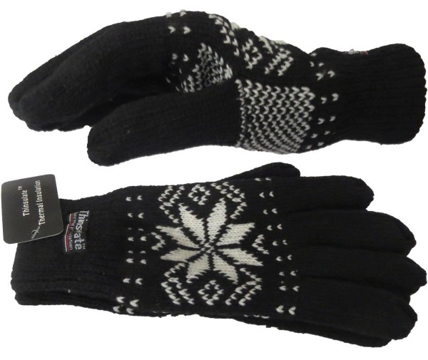 "Knitted Gloves ""Snow Cristal"" Winter Fleece Snowflake Unisex"