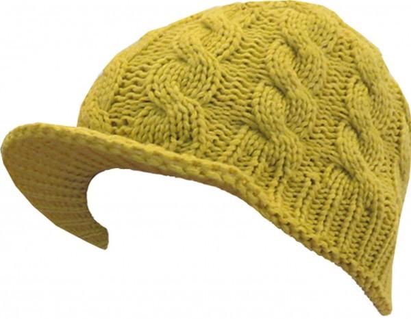 Schirmmütze Mütze Cap Gelb Strick Herbst Winter