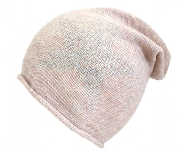 "Knit Beanie ""Prisma"" Star Rhinestones Wool Knitbeanie Premium"